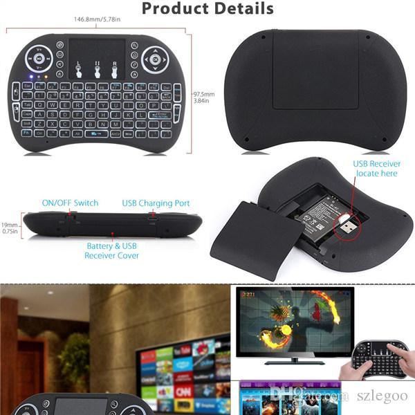 Rii Fly Air Mouse 2.4G Mini i8 Teclado inalámbrico con retroiluminación Rojo verde azul Controles remotos para S905X S912 Android TV Box