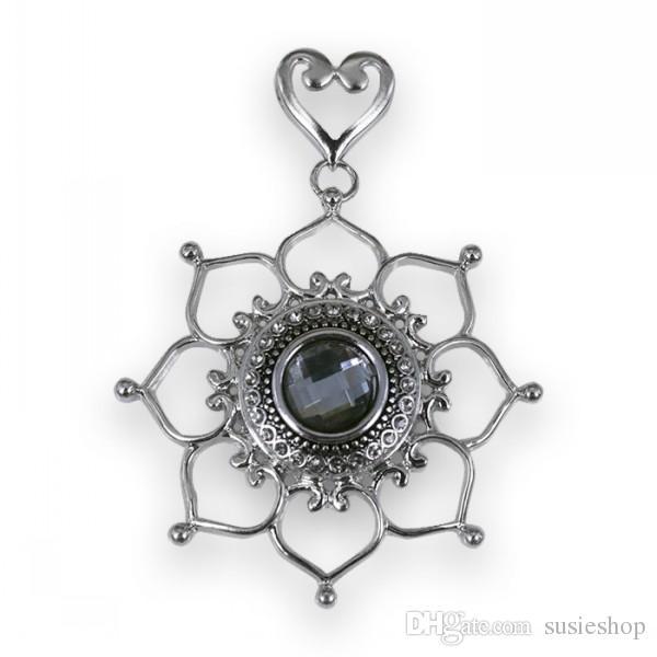 Crystal Lotus подвесной, подвеска, подвеска кнопки, подвеска кнопки, ожерелье, кнопка ожерелье, Noosa Snap, Gingersnap, Magnolia, прозрачный кристалл 20 мм