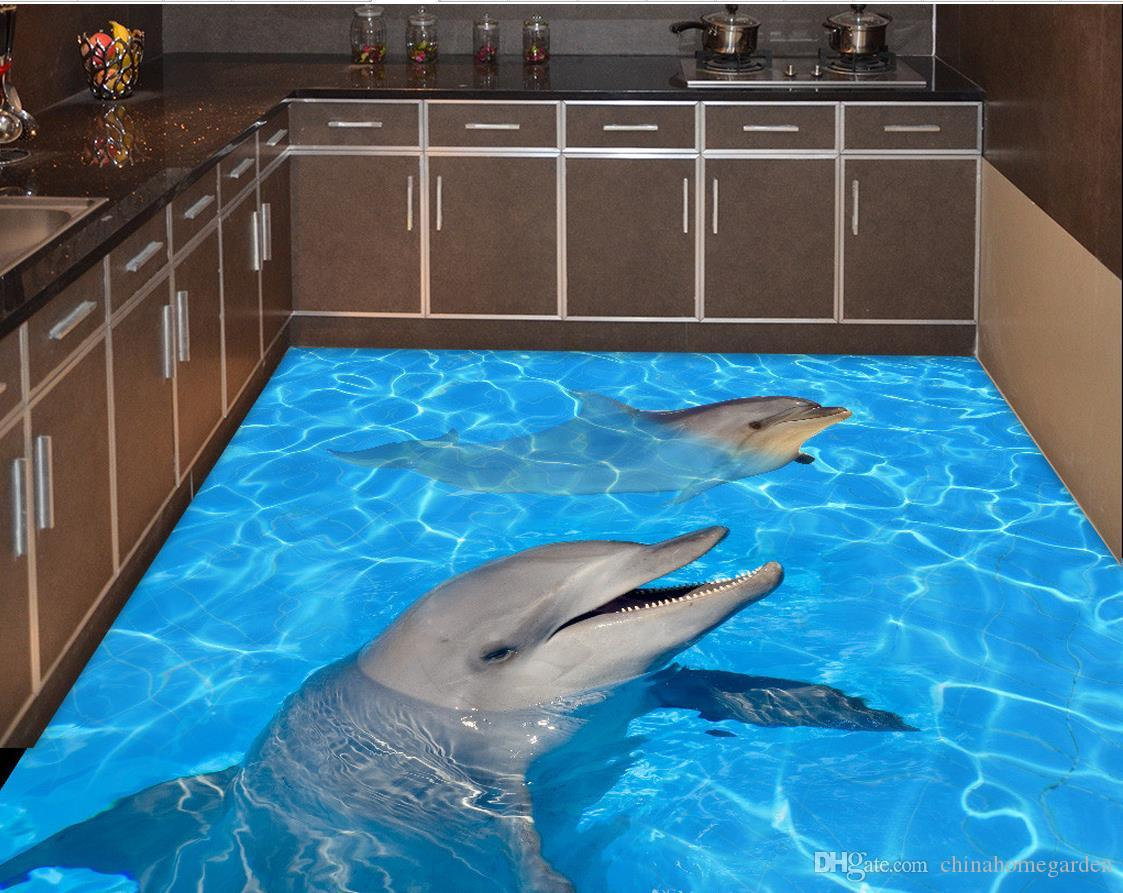 Fashion Decor Home Decoration For Bedroom Dolphin Water 3d Floor Painting  Wallpaper For Bathroom Waterproof Natural Wallpapers Nature Desktop  Wallpaper From ...