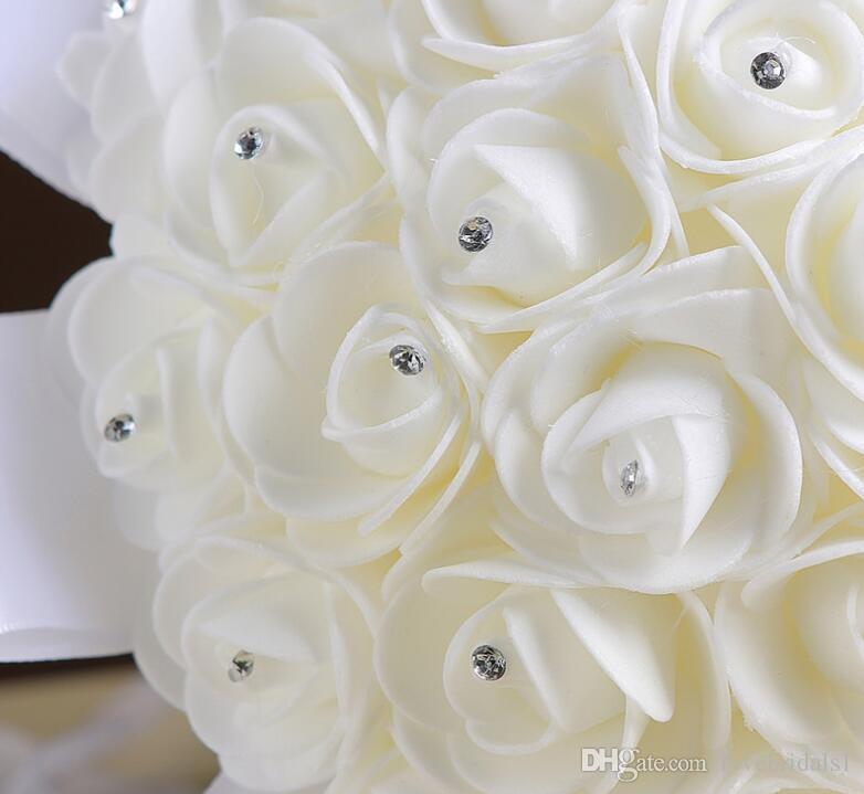 2017 Cheap Hot Sales Rose Artificial Bridal Flowers Bride Bouquet Wedding Bouquet Crystal Ivory Silk Ribbon New Buque De Noiva