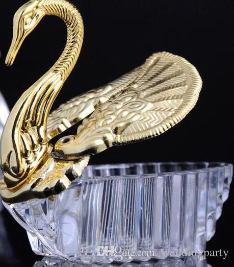 Estilos europeos acrílico Silver Swan dulce regalo de boda Jewely caja del caramelo cajas de regalo boda favorece a los titulares