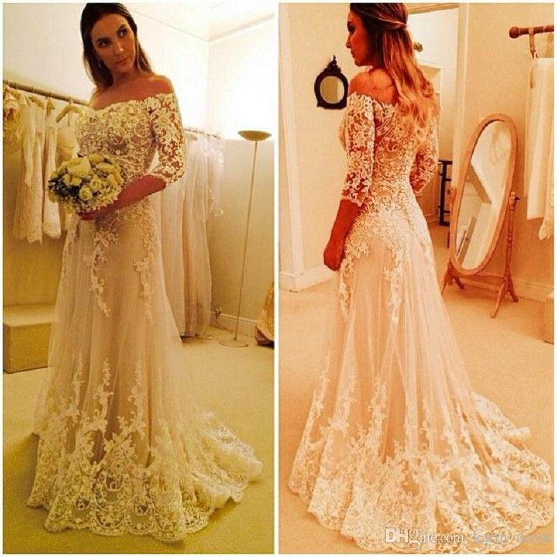 Vintage Lace A-Line Wedding Dresses With Sleeves 2017 Handmade Bridal Gowns Shop Online China White Applique Beads Tulle Bateau Sweep Train
