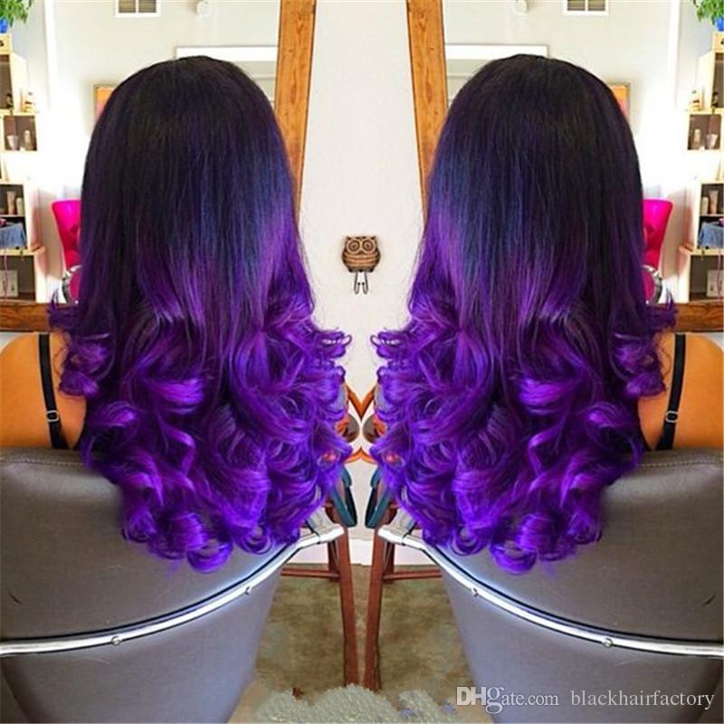 1b Purple Ombre Hair Extensions Cheap Body Wave Brazilian Human Hair