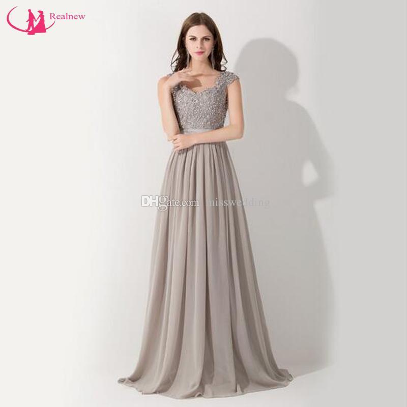 Großhandel Neueste Stil Marke Mutter Kleid A Line Chiffon Mit Perlen ...