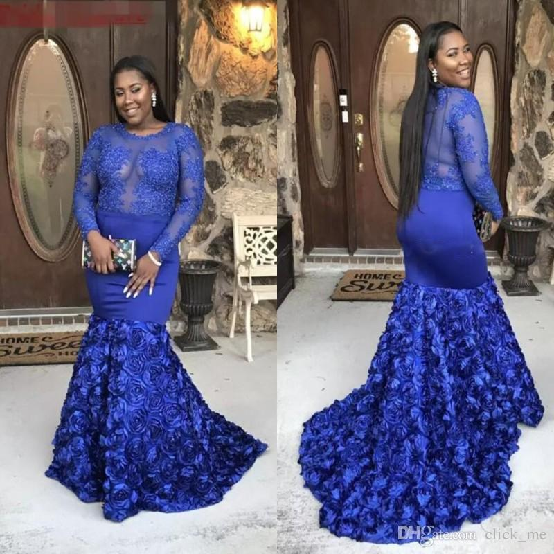 Royal Blue Plus Size Evening Dresses With Long Sleeves Sheer Neckline  Mermaid Prom Dress Long Rose Train African Dresses Evening Wear