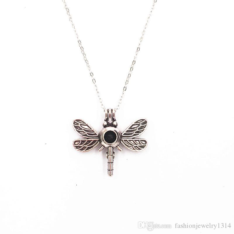 Openwork Kawaii Mouse Ear Bow and Dragonfly Pendant Lava Stone Aroma Perfume Diffuser Necklace