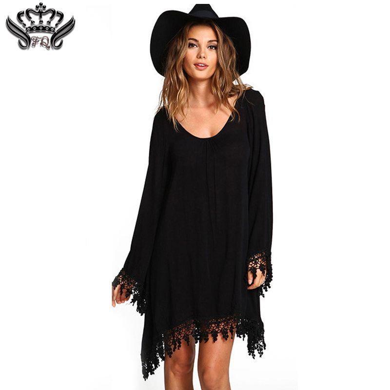 b851f5ca106c 2019 Wholesale 2016 Summer Women Boho Tassel Dress Short Vestido Sexy Lace  Crochet Chiffon Tunic Hollow Black Beach Shirt Dress Blusa Hot Sale From  Cagney, ...