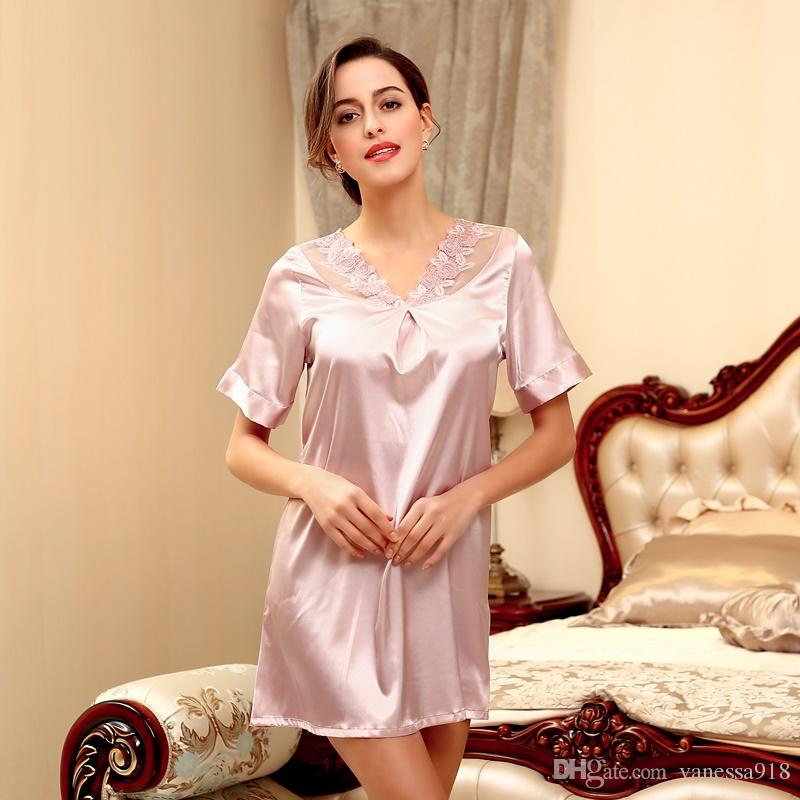 2019 Satin Nightgowns Sleepshirts V Neck Silk Nightwear Women Short Sleeve  Lingerie Sexy Lace Sleepwear Female Sleep Wear Nightdress SJYT38 From  Vanessa918 8d02b397f2f7