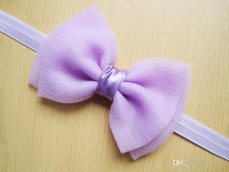 Sweet Kid Girl Chiffon Bows Headbands Infant Baby Hairband Headwear Candy Color For Baby Hair Accessories
