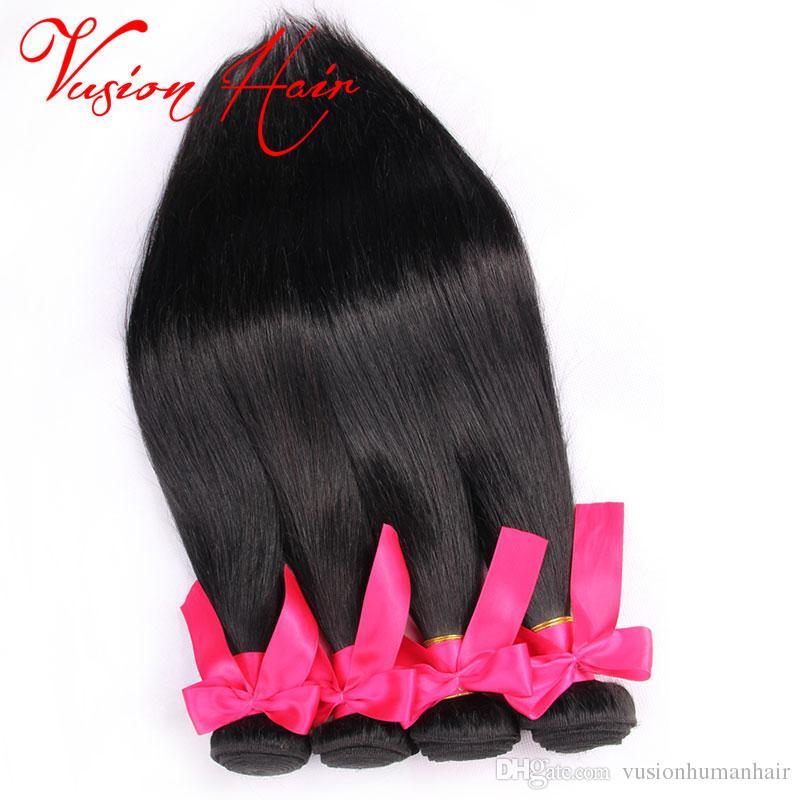 Diritta crespa fasci di capelli la vendita all'ingrosso di un pezzo / Confezione 7a Virgin di Remy dei capelli Bundles Natural Black diritta crespa dei capelli di tessitura