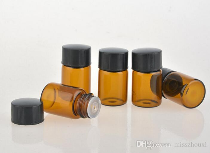 2ML Amber Brown Mini Glass Bottle, 2CC Amber Sample Vial, Small Essential Oil Perfume Bottle Factory price BY DHL