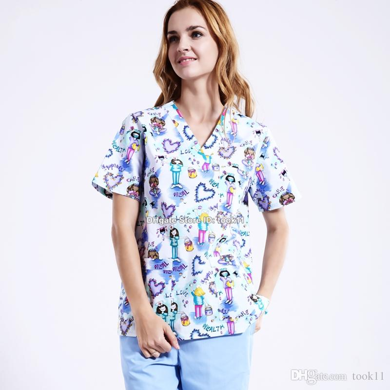f268063cd7c 2019 Uniformes Hospital Women Medical Nursing Scrub Top Clothes Dental  Clinic Pet Print Nurse Medical Clothing Summer Medical Gown From Took11, ...