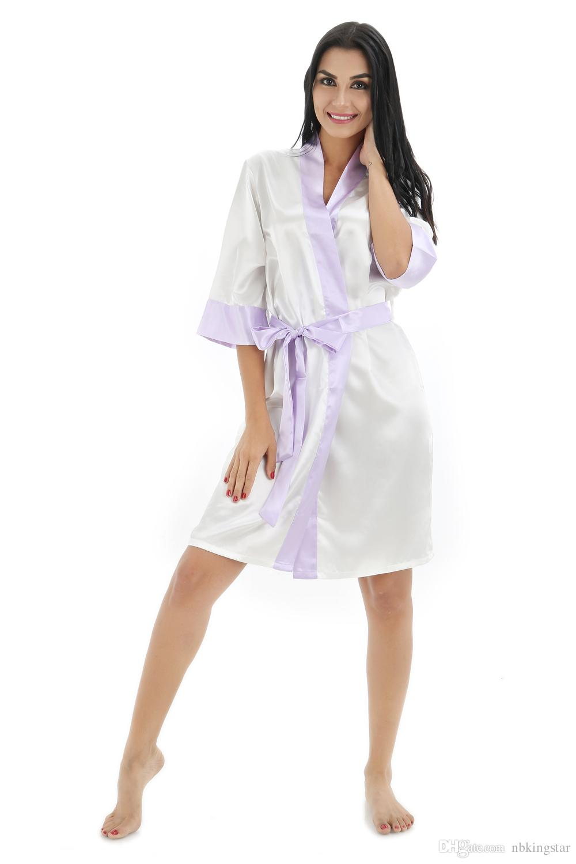 New Women Silk Kimono Robe with Trim for Bridesmaids Wedding Party Night Gown Pajamas Sleepwear available