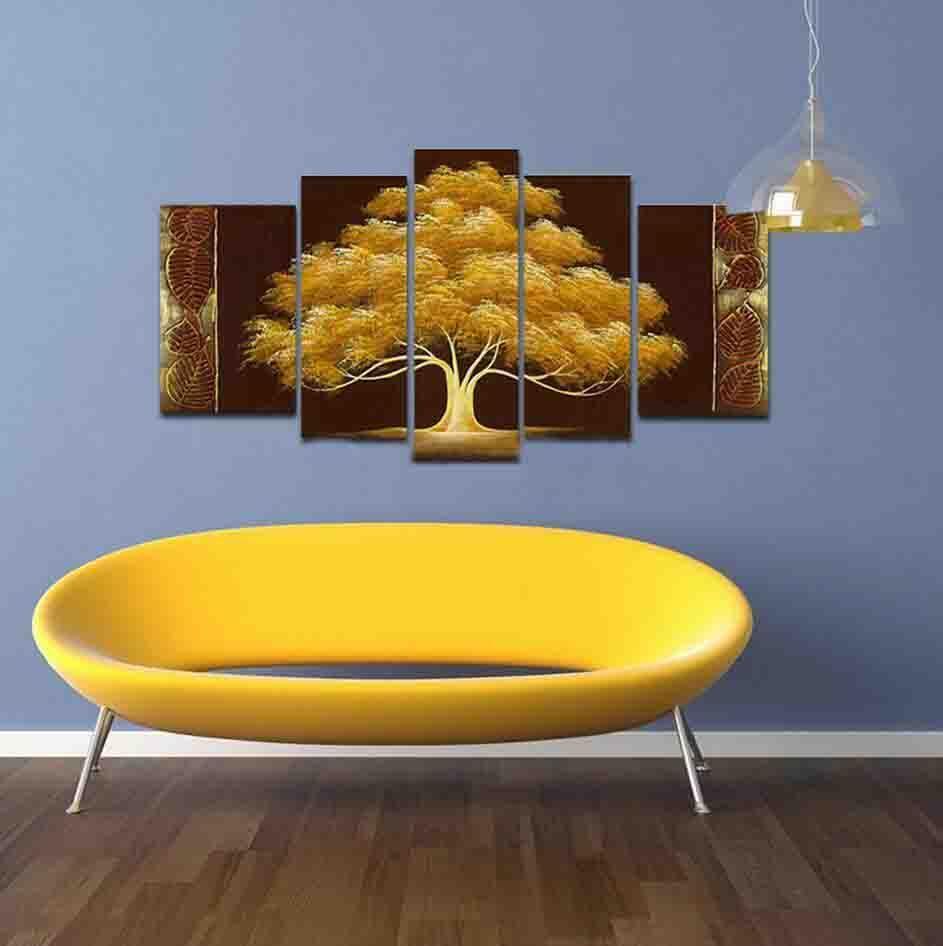 El Boyalı sonbahar Ağacı Yağı Boyama sarı kahverengi Özet Modern Kanvas Duvar Sanatı Salon Dekor peyzaj Resim 5adet