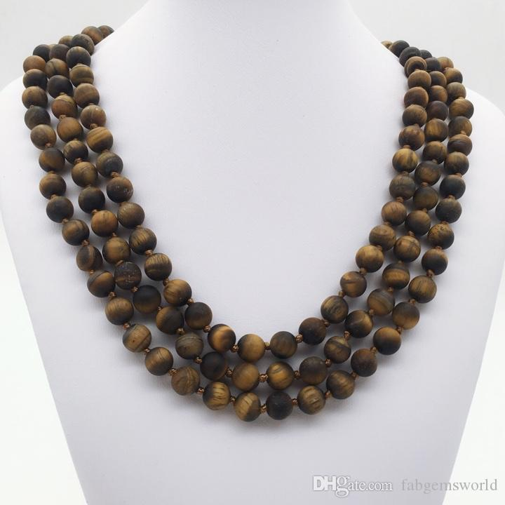 dbfd1beffb159 8mm 60 Inches Hand Knotted Matte Tiger Eye Long Necklace ,Tiger Eye Beads  Necklace ,Gemstone Necklace,Gifts