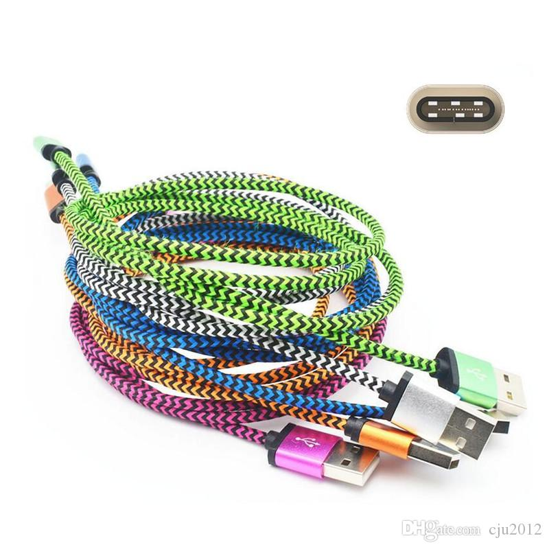 Tipo C usb tela de nylon trenzado 1 m 2 m micro V8 5pin usb cargador de datos cable de alambre para samsung s4 s6 s7 edge s8 teléfono android letv lg g5