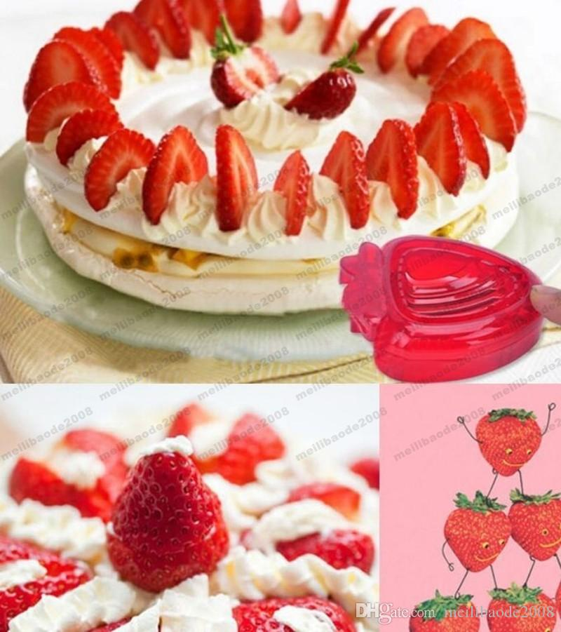 NEW Red Strawberry Slicer Plastic Fruit Carving Tools Salad Cutter Berry Strawberry Cake Decoration Cutter MYY