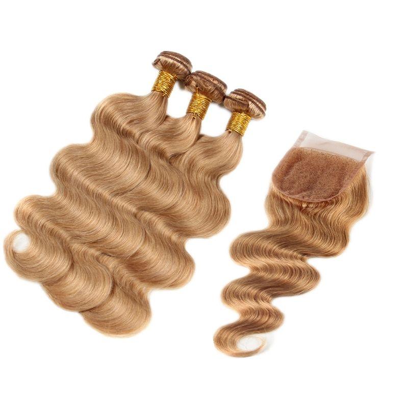 Мед блондинка перуанский девственница волна человеческих волос утка с кружева закрытия 4x4 #27 волна тела пучки волос с верхней закрытия