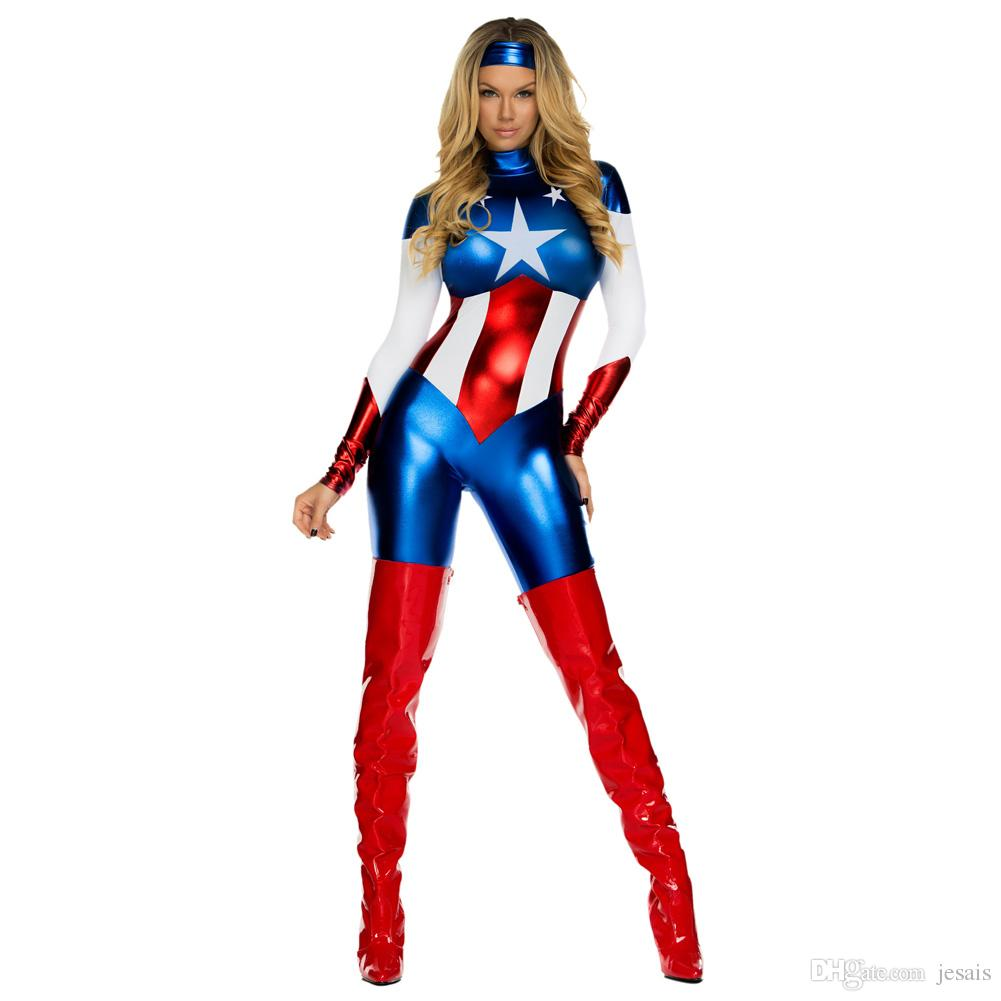 Captain America Super Heroes Bodysuits Cosplay Halloween Adult Female The Avengers Zentai Teddies Dresses Performance Costumes