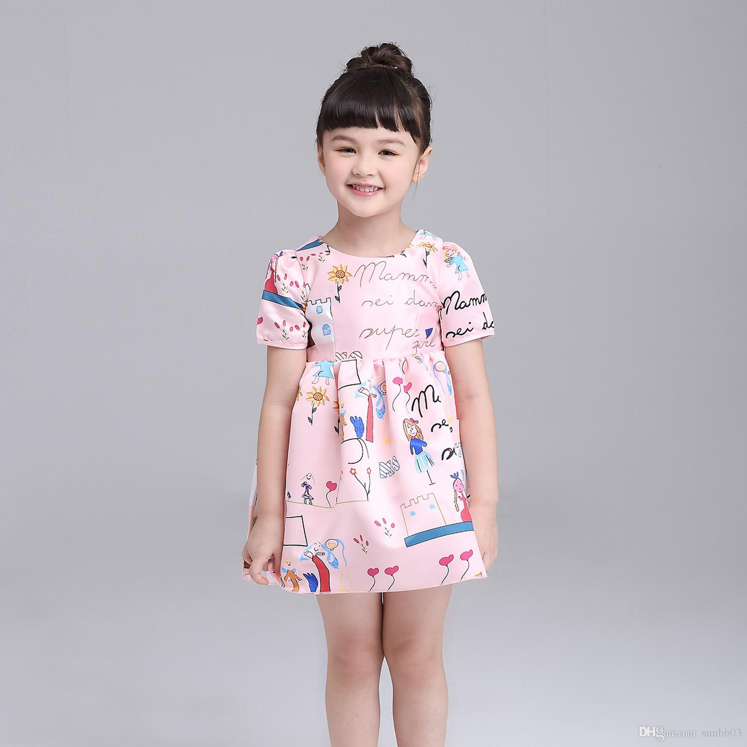 d1ac6f010 2019 Children S Dresses Floral Kids Clothes Princess Dress Europe ...