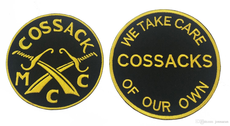 Yeni Varış COSSACKS TEXAS MC İşlemeli Demir-On Biker Rider Yama Dikmek Tam Arka Boyutu Ceket Yelek Rozeti SGT. ARMS Rocker Yamasında