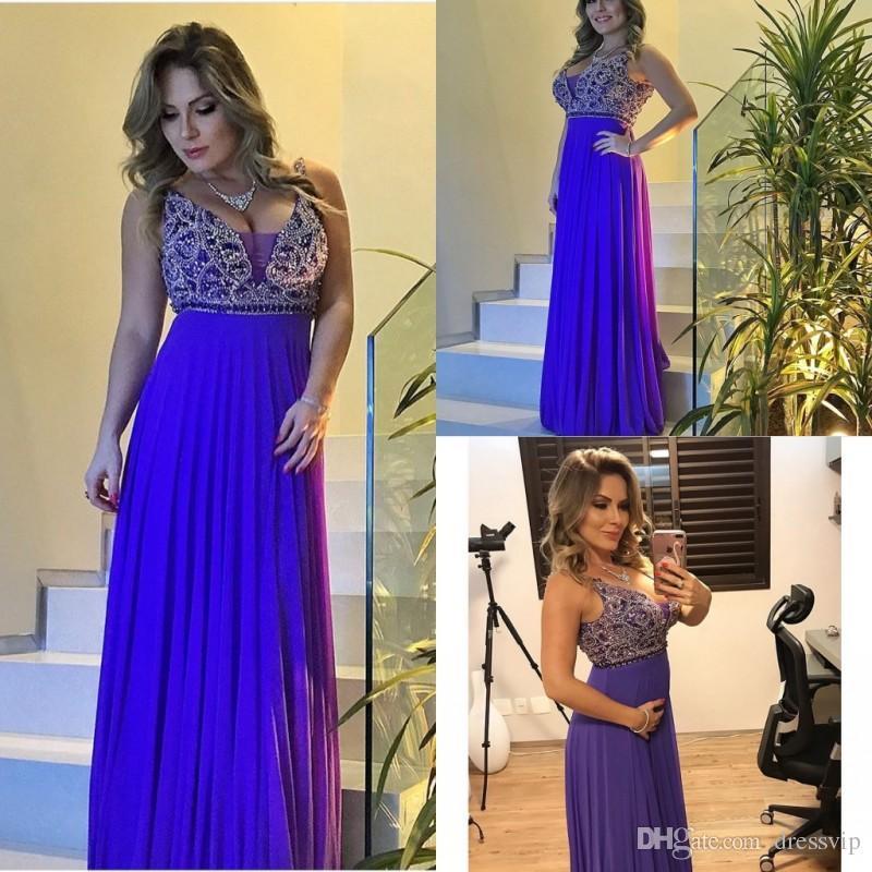 Royal Blue Evening Dresses Big Bust Beads Deep V Neck Beads Chiffon