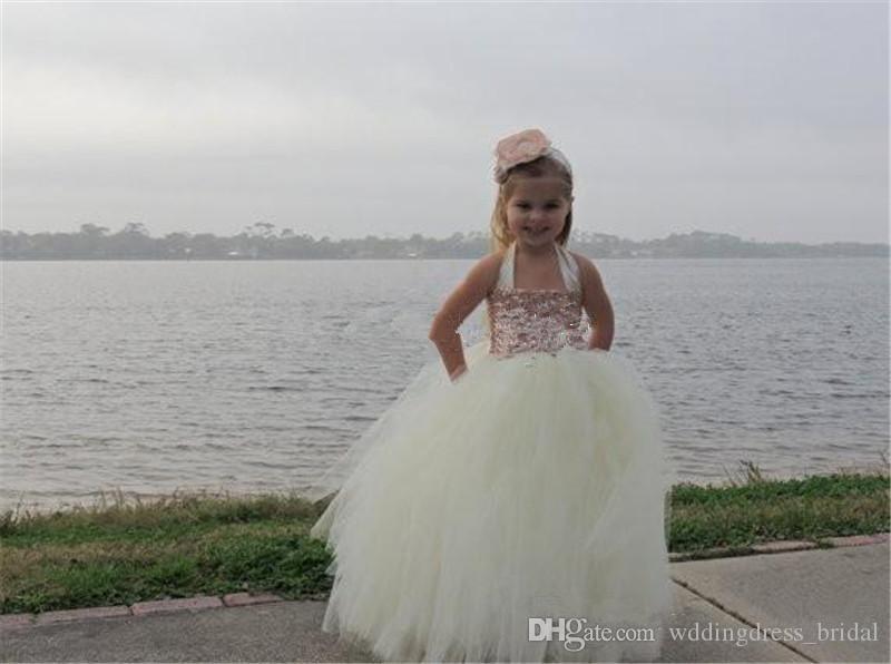 Cute Ivory Flower Girl Dresses Ball Gown 2019 Blingbling Rose Gold Sequined Halter Tutu Floor Length Cheap Little Girls Pageant Dresses