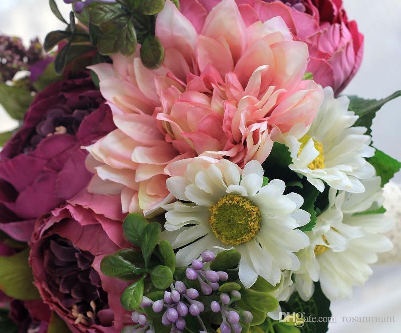 2020 Bouquets de mariage artificiels élégants pour mariées à l'extérieur de la dentelle de mariage bouquets bouquets bouquets bouquets bouquets de mariage