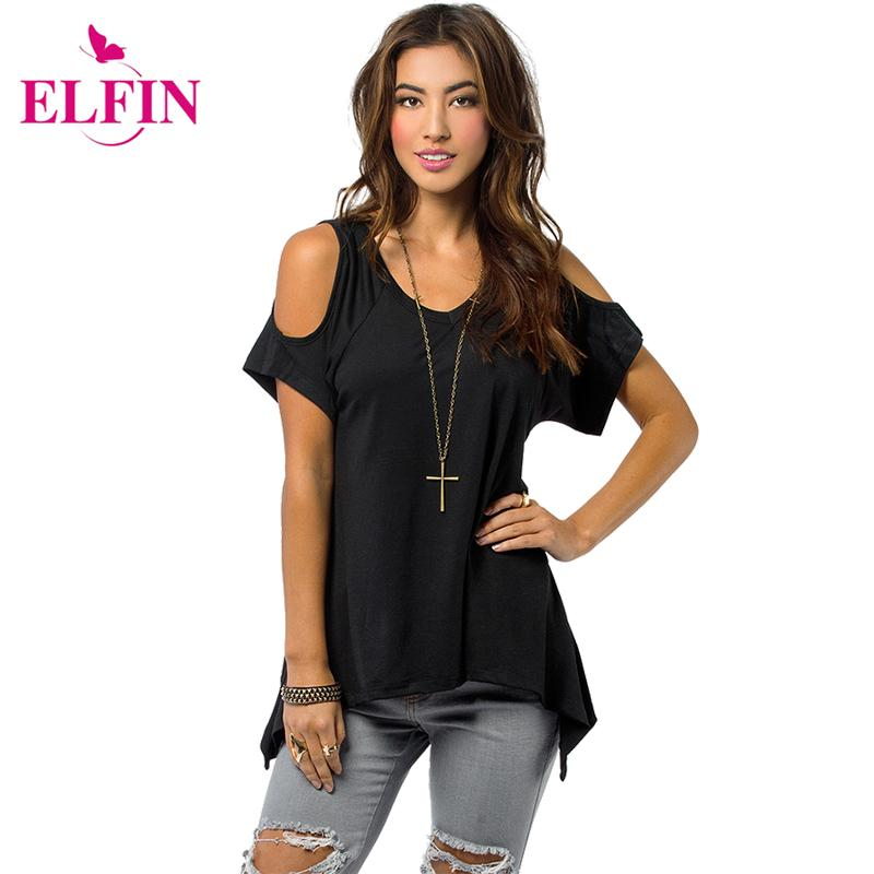 226003e5b59d1f Wholesale Shoulder Top Women Open Cold Shoulder V Neck Short Sleeve  Irregular Hem Cut Out Tunic Top Off Shoulder T Shirt Top Tees LJ1270R  Unique T Shirts ...