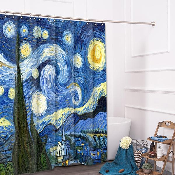 2017 Large Printing Polyester Shower Curtains Van Gogh Famous Starry Night  Painting Bathroom Decor Thick Prints Bathroom Shower Curtain From ...