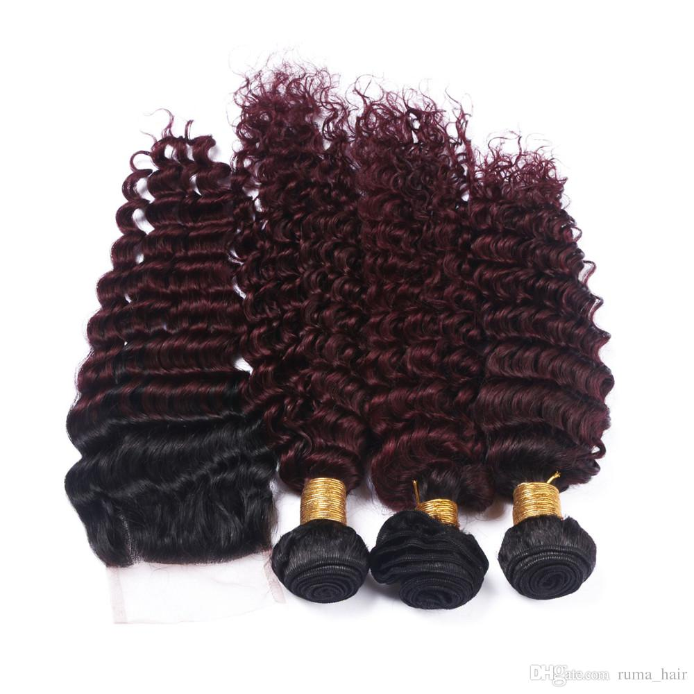 Brezilyalı 99J 100% İnsan Saç Uzantıları Örgüleri Derin Dalga Derin Kıvırcık kırmızı Win Saç 3 Demetleri 8A Bordo Saç Dantel Kapatma Ile 16 Inç