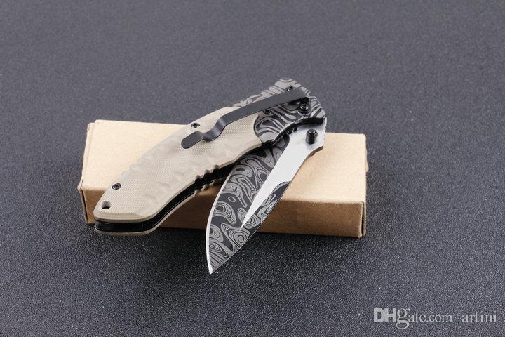 Top Funtion F91 Coltelli da tasca EDC Damasco Modello Lama G10 Maniglia Camping Utility Outdoor Gear Coltello Regalo di Natale Gli Uomini B128L
