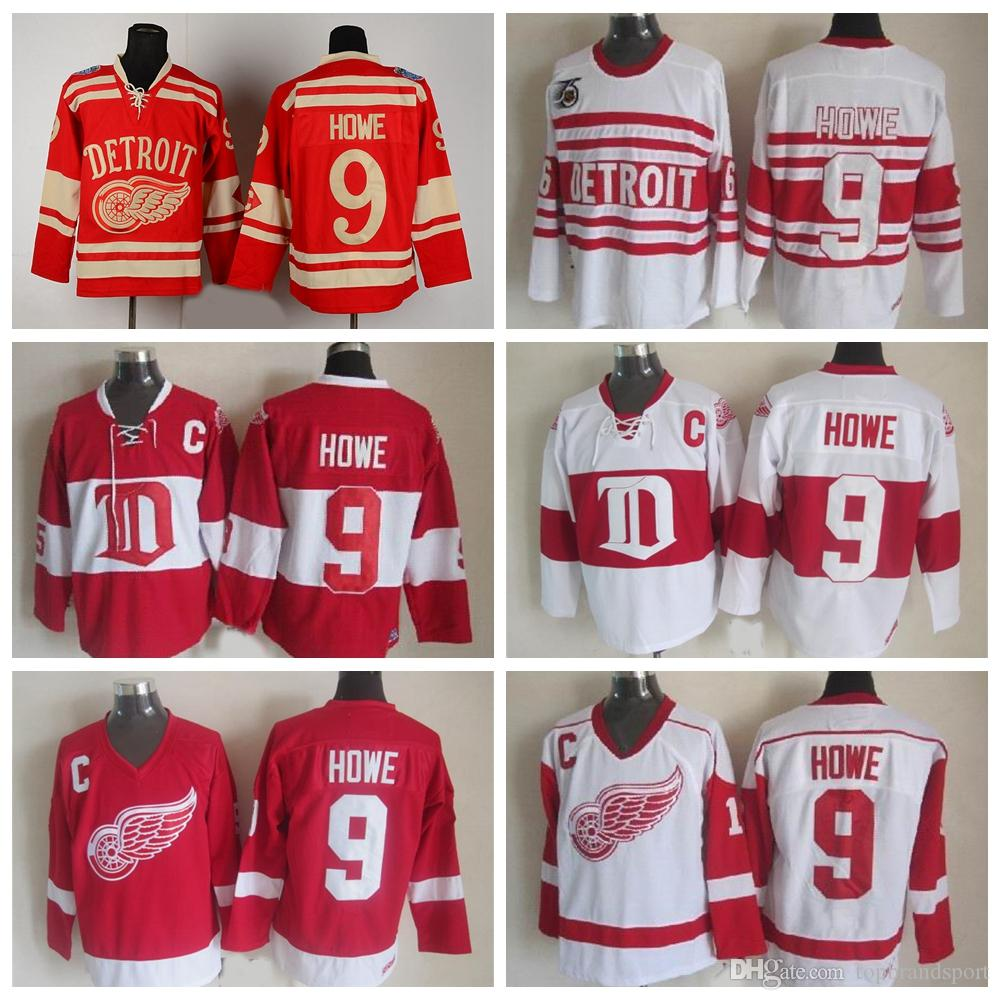 f3475a956 Throwback Detroit Red Wings Gordie Howe Jersey 9 CCM Vintage 75th Winter  Classic Hockey Jerseys Alumni ...