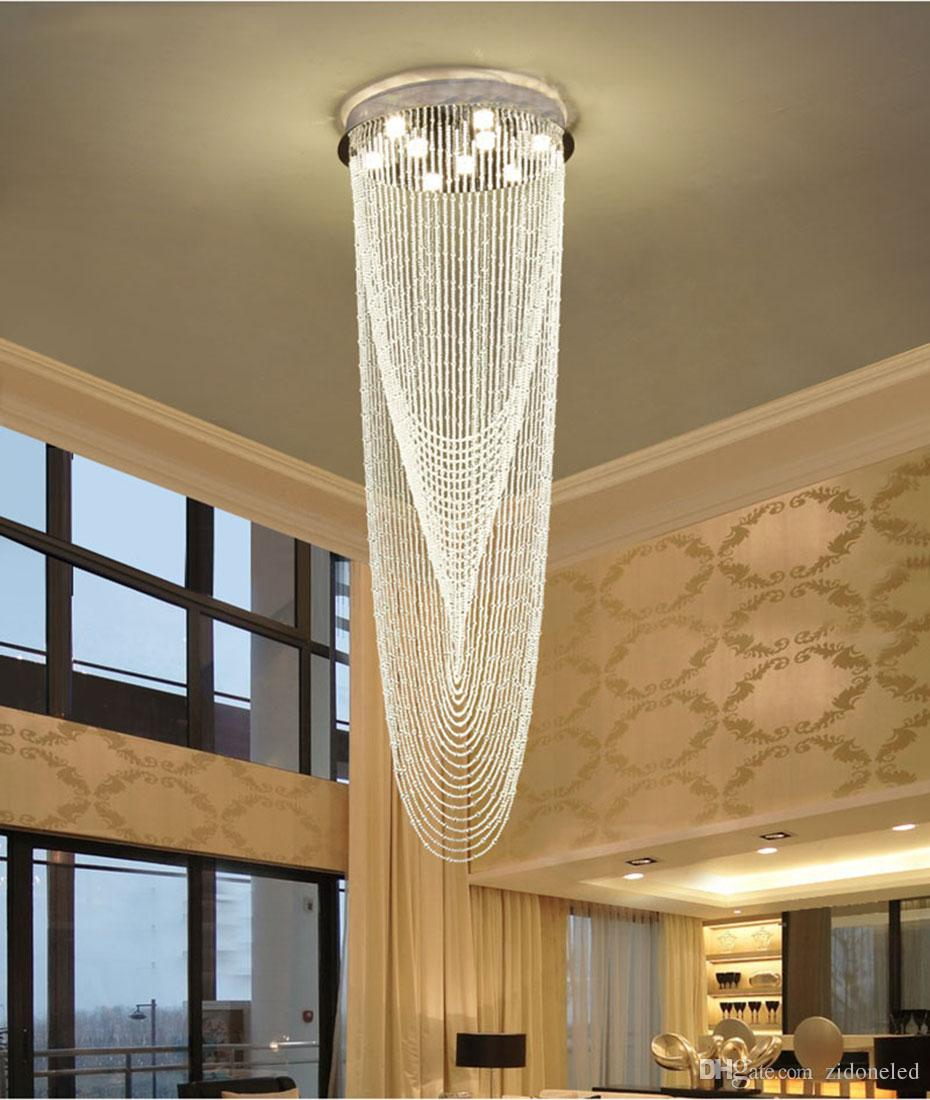Lighting Basement Washroom Stairs: Modern Crystal Chandeliers Stair Chandelier LED Ceiling