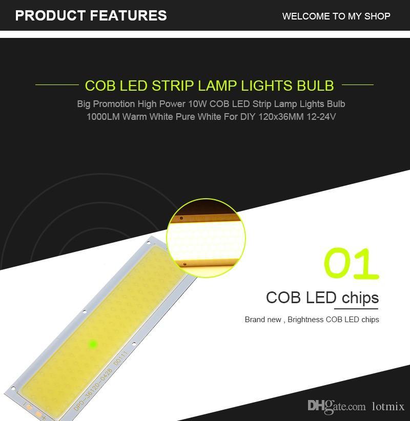 COB LED Panel Strip Light Chip 10W Lamp Bulb Car Light Source Warm White Pure White For DIY Spotlight Floor Lighting DC12-24V
