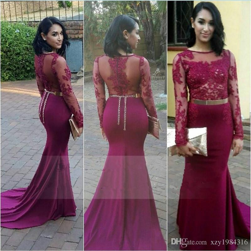 f604a399b Sexy Burgundy Mermaid Prom Dress Long Sleeves Sheer Neckline Lace ...