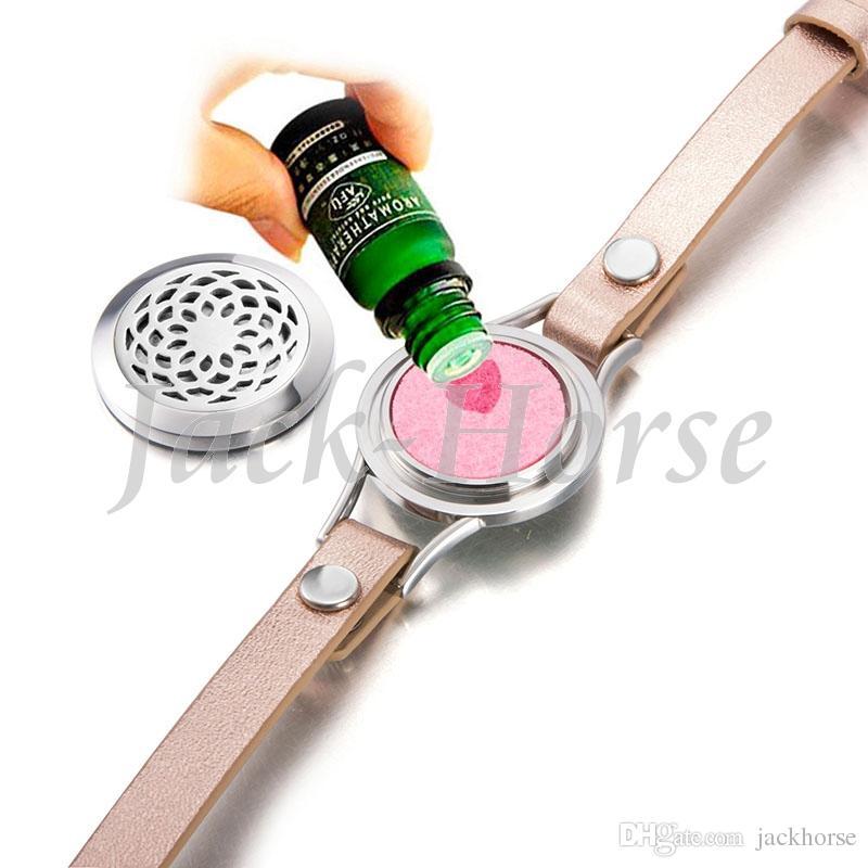Pulseira de aço inoxidável 316L mulheres difusor pulseira de couro wraps com três almofadas livres de óleo essencial pulseira