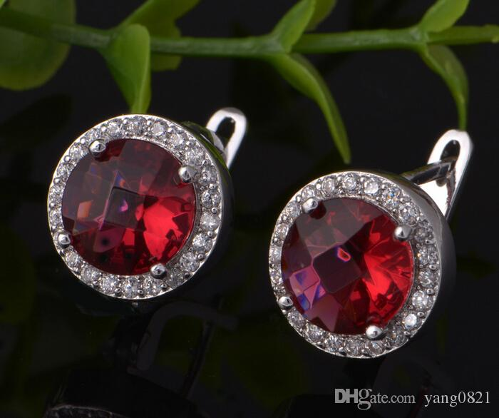 2017 women's fashion Jewelry Set S925 Silver Plated Red Crystal CZ Stones Pendent Necklace Earrings Ring set Charm accessories