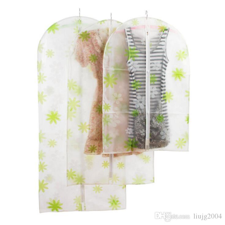 hanging dust cover wardrobe storage bags semi-transparent waterproof PEVA clothing storage bags cute clothes garment bag organizador storage