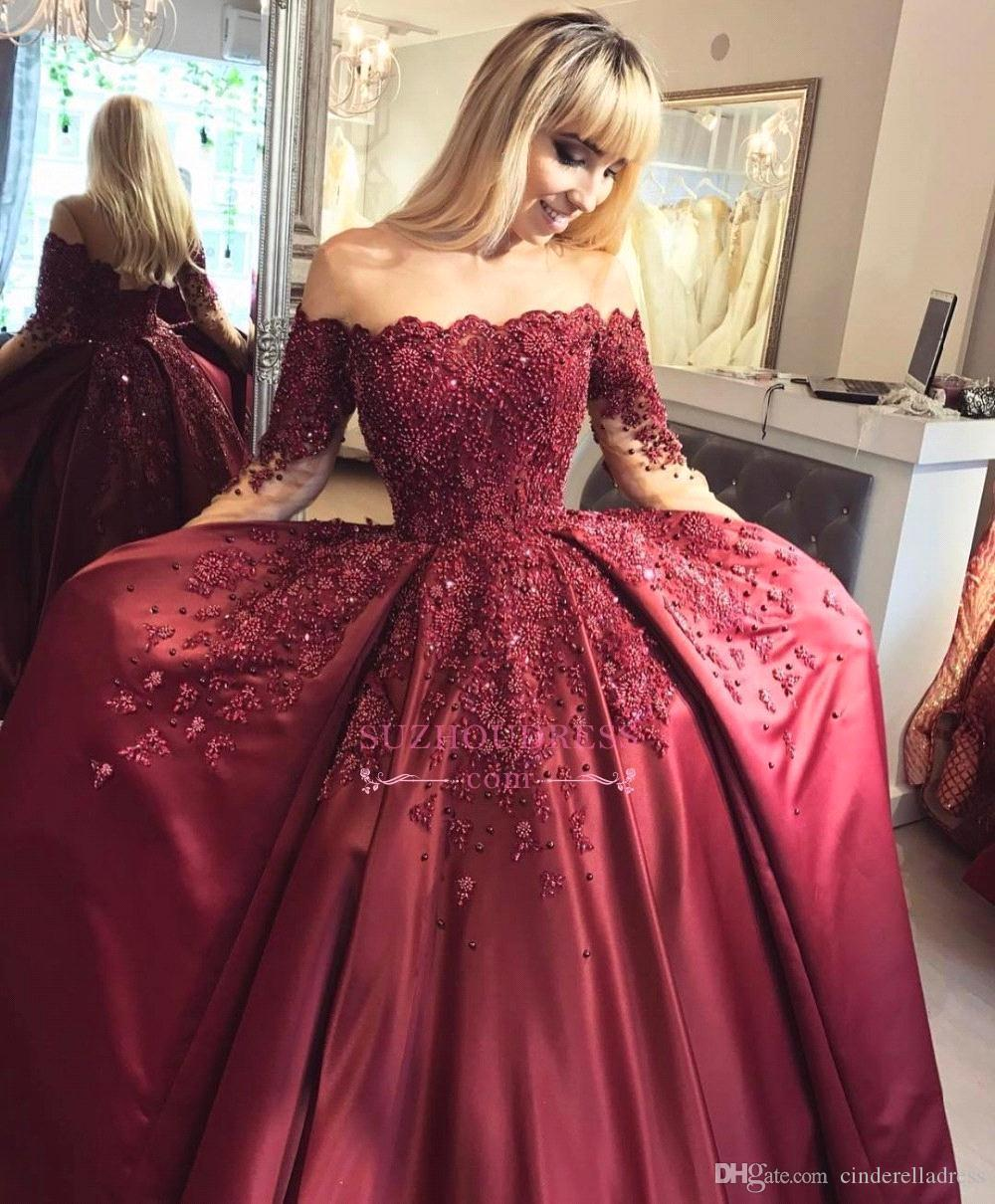 2018 Vermelho Escuro Off The Shoulder vestido de Baile Quinceanera Vestidos Floral Doce 16 Mangas Compridas Applique Pérolas Beads Vestidos de Noite BA6695