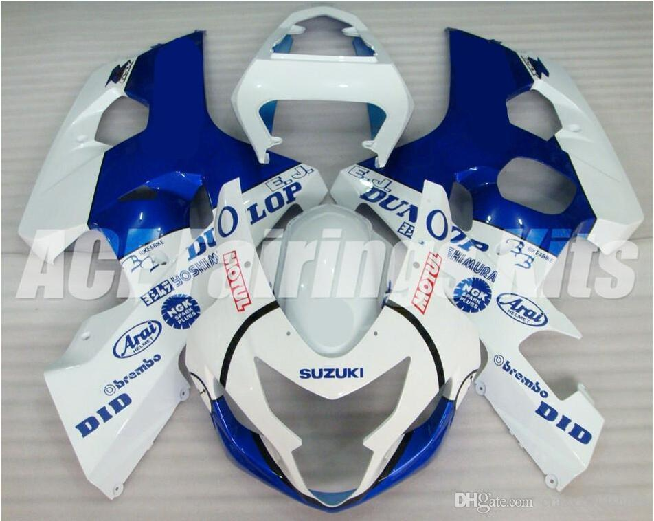 New ABS motorcycle Fairing Kits 100% Fit For Suzuki GSXR600 GSXR750 2004 2005 600 750 04 05 K4 bodywork set hot sales blue white style