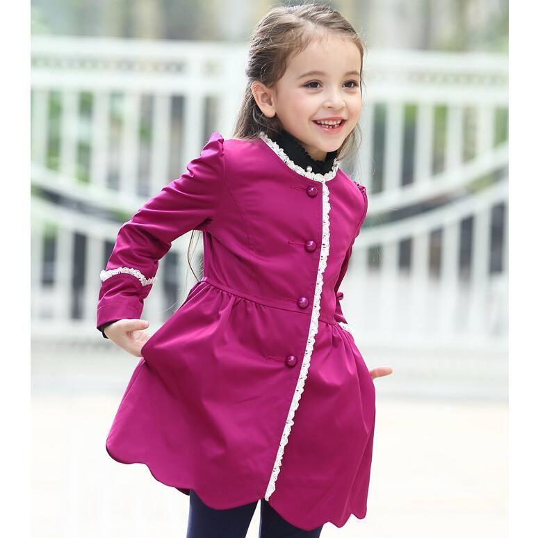 Fashion Designer Girls Jackets Coats Kids Girl Rose Purple Jacket ...
