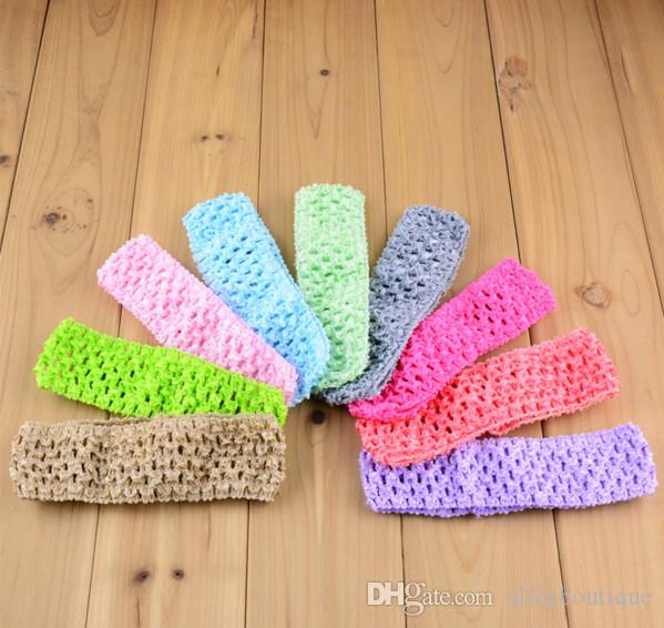 "Korea silk knitted elastic headband Wholesale Hi-Quality 1.5"" Newborn Infant baby girl Top TuTu crochet headband D02"