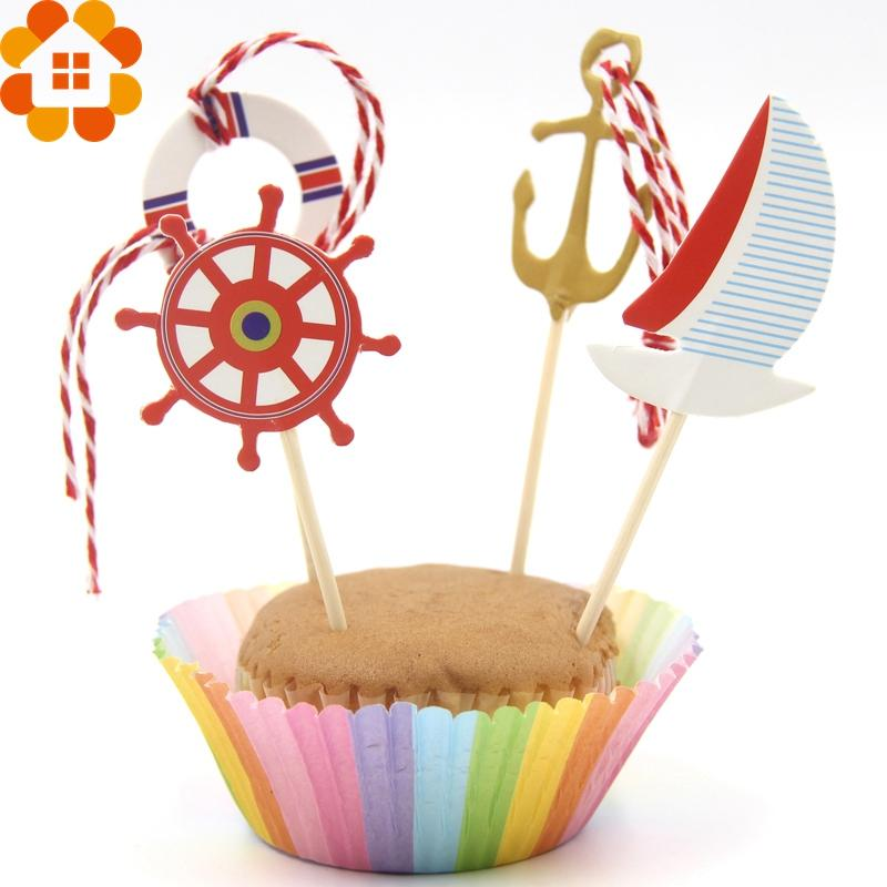 Sailing Anchor Tour Party Cupcake Toppers Birthday Cakes Topper