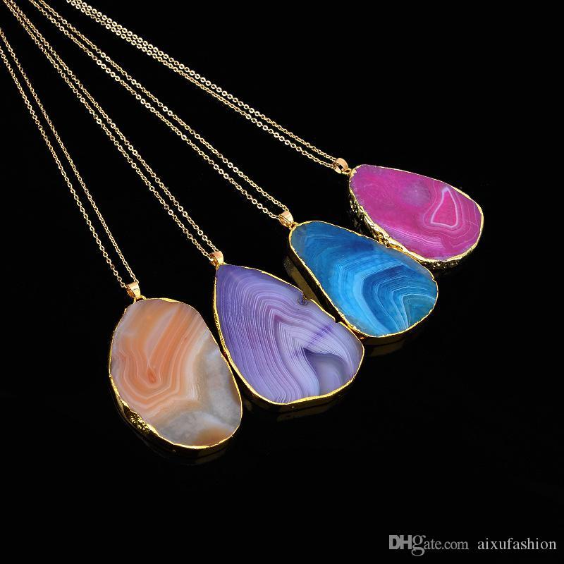 Gargantilla de piedra natural de corte de cristal grano de cuarzo colgante collar de piedra original joyería de moda cadenas de encanto collares pendientes