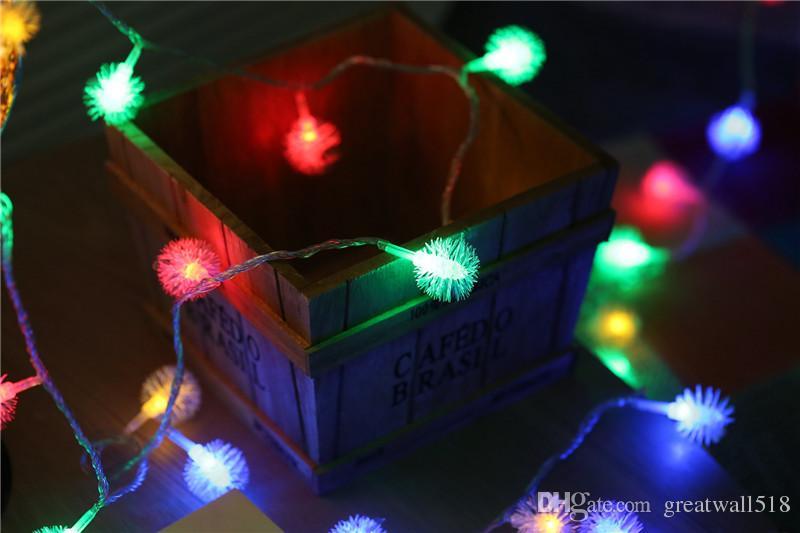 LED Dize Işık sıcak beyaz Peri Işık Tatil Işık Için Parti Noel Düğün Dekorasyon AC Kumandalı Kirpi Topu QX008