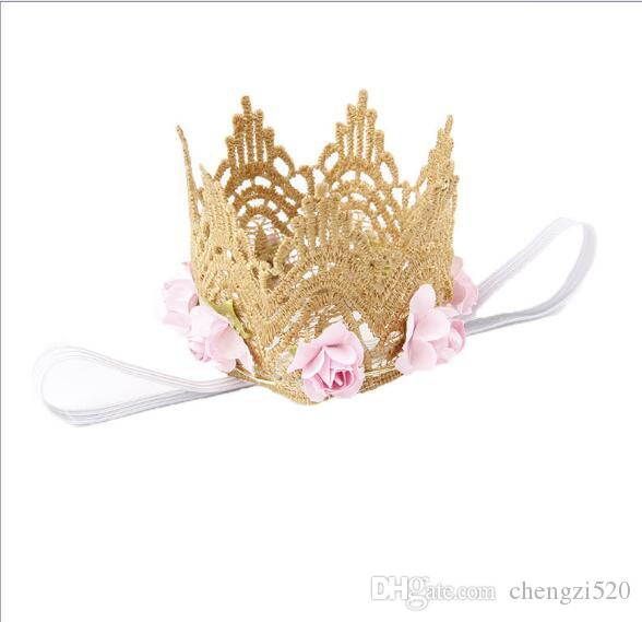 Style Rose Flowers Gold Lace Crown Headband for Baby Hair Accessories Gold MINI Lace Crown for Newborn Photography Prop YH547