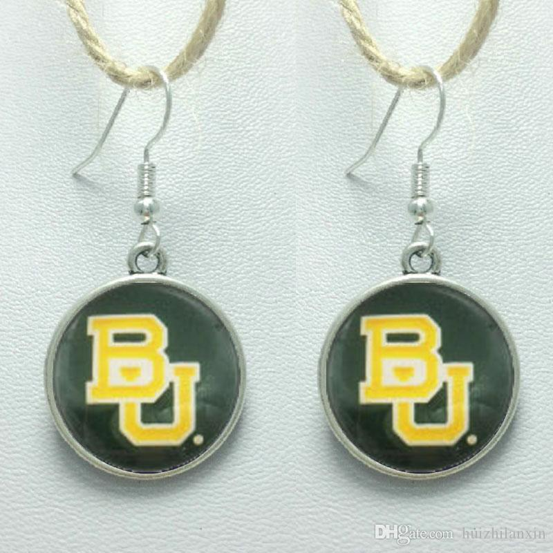 Sports Team NCAA Baylor Charms orecchini in vetro 3Style Gioielli Stud / Orecchini pendenti