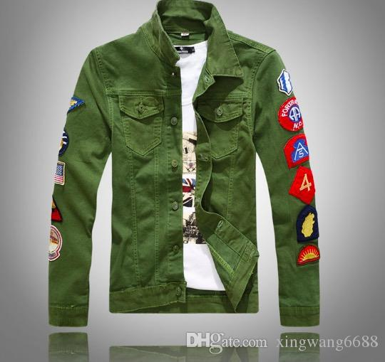3ec94b25854 2019 Men S Casual White Denim Jacket Slim Jeans Jacket Fashion Patch Lapel  Slim Fit Army Green Denim Jean Bomber Jacket Casual Shirts XXXL From  Xingwang6688 ...