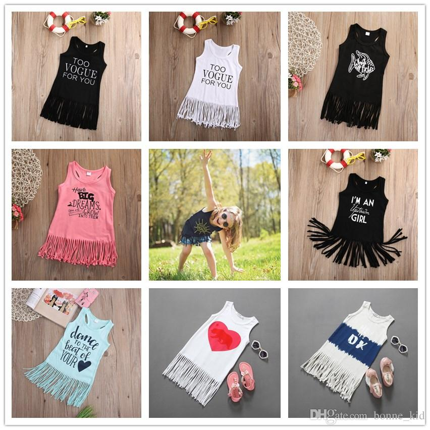 50a1f40529b 2019 Fashion Baby Girl Clothes Tassel Summer Dress Kids Sundress Cotton  Pinafore Dress Letter Print Animals Nightdress Trendy Items Kids Clothing  From ...